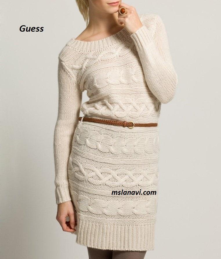 Вязаное платье поперек от Guess