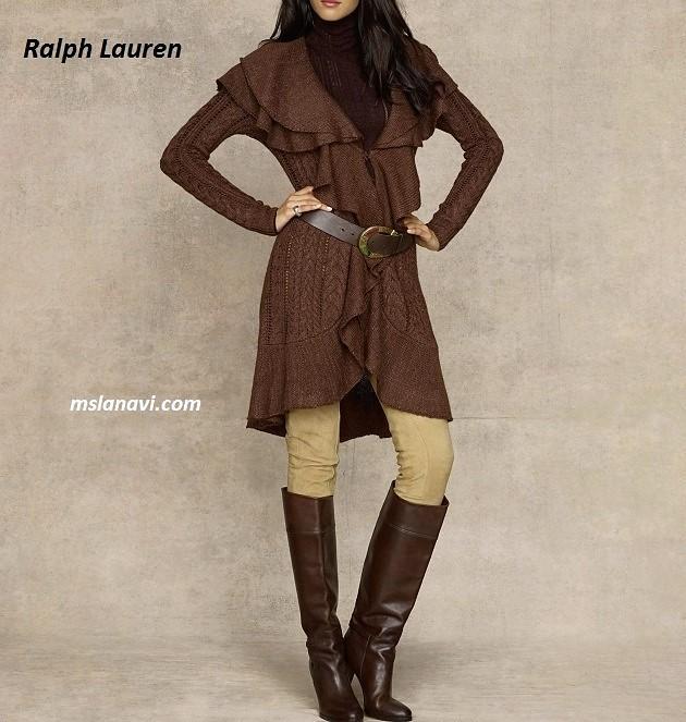 Кардиган спицами с оборками от  Ralph Lauren