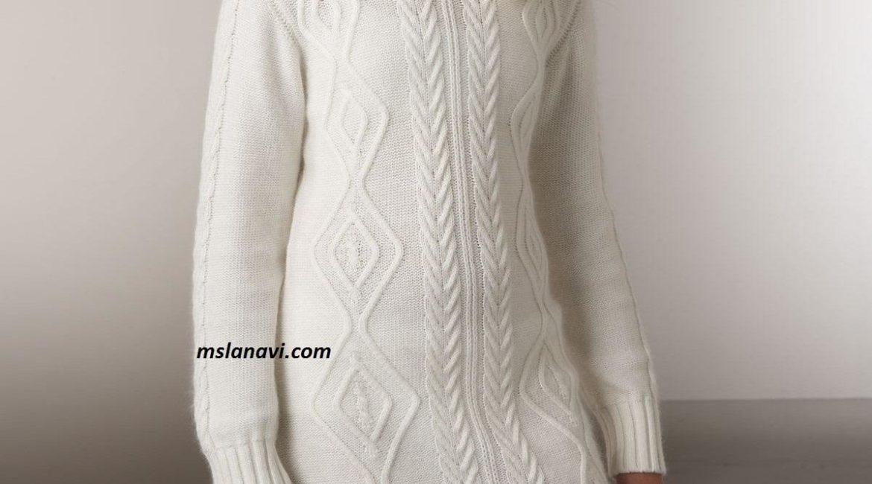 Вязаное платье свитер с нежными аранами