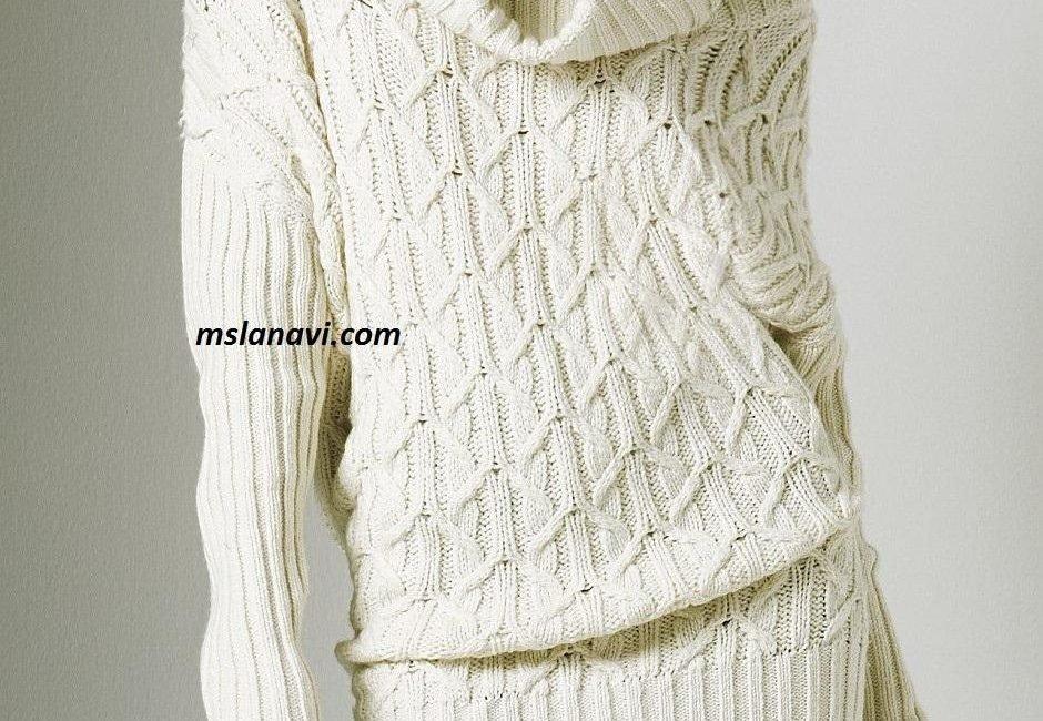 Белое платье спицами с широким воротником