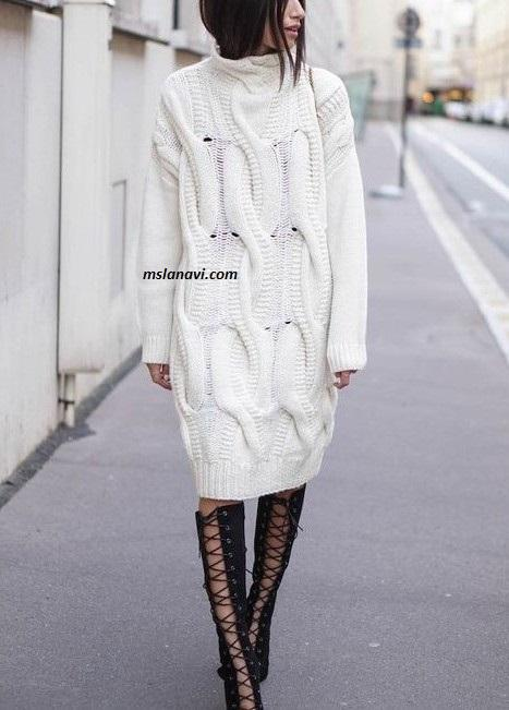 Молодежное вязаное платье с широкими жгутами