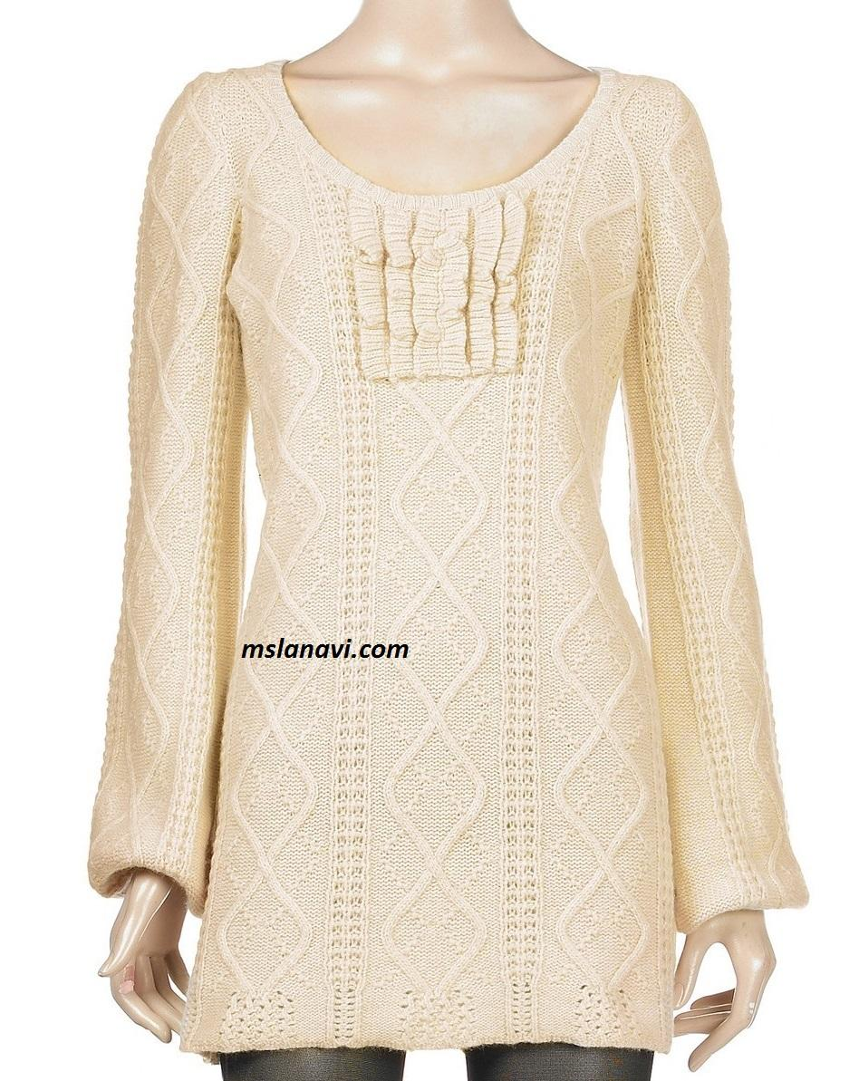 Вязаное платье спицами с воланами