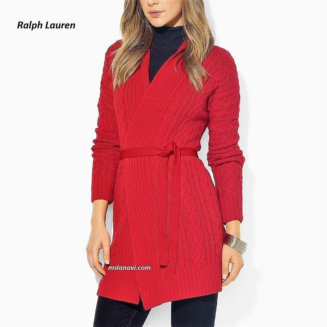 Красный кардиган спицами от Ralph Lauren