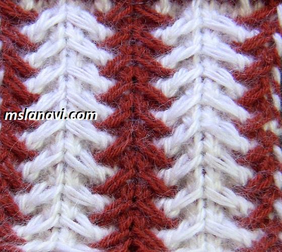 рельефный узор для вязания спицами 124