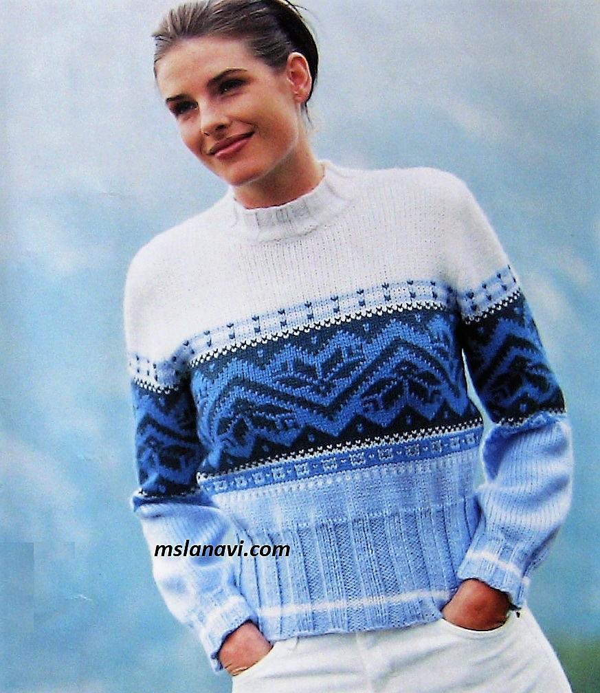 Короткий жаккардовый свитер спицами
