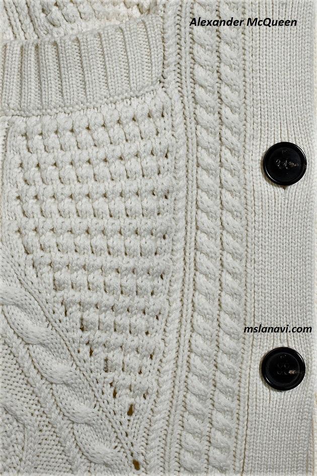 Белый кардиган спицами от Alexander McQueen