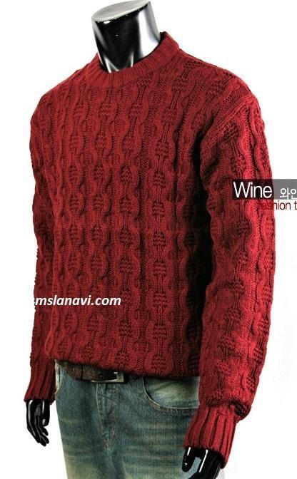 Вязаный свитер спицами для мужчин