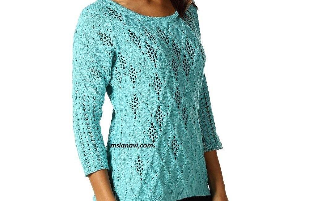 Голубой пуловер с ажурами от Nic + Zoe