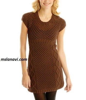 Платье спицами с ажурным узором