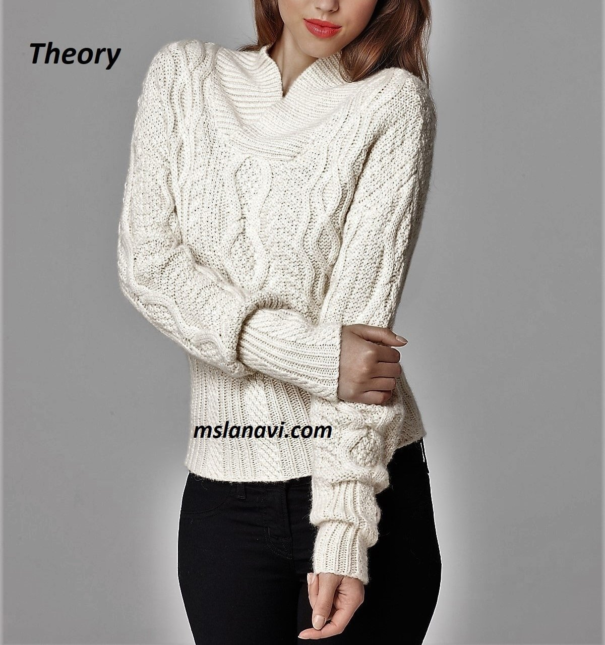 Романтичный свитер спицами от Theory
