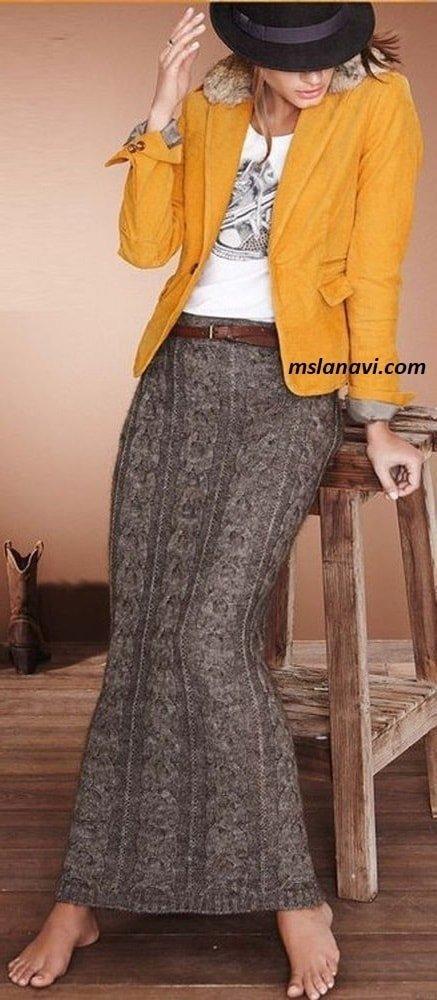 Длинная вязаная юбка с широкой косой