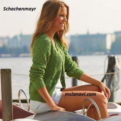 Летний зеленый жакет спицами от Schachenmayr